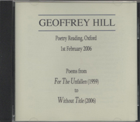 Geoffrey Hill Poetry Reading